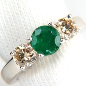 1.90ct NATURAL ROUND EMERALD FANCY COLOR BROWN